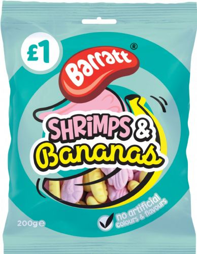 Barratt Shrimps & Bananas 200g packet (UK)